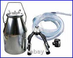 Stainless Steel Portable Cow Milker Milking Bucket Tank Barrel fv