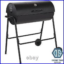 Steel Half Barrel Charcoal Barbecue Black Temperature Gauge Grill Barrel BBQ