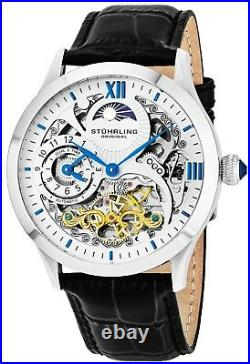 Stuhrling 571 Men's Dual Time Animated AM/PM Skeleton Double Barrel Dress Watch