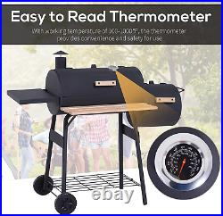 Trolley Charcoal Barrel BBQ Grill Barbecue Outdoor Cook Garden Smoker Portable