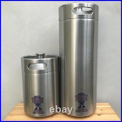 Two Mini Keg Beer Growlers 10L Stainless Steel barrel bottle screw top naked keg