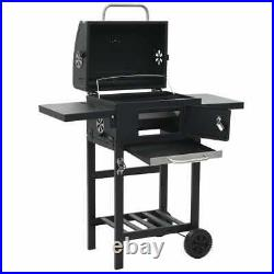 VidaXL Charcoal-Fueled BBQ Grill with Bottom Shelf Black Freestanding Barbecue