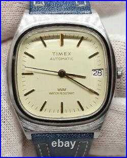 Vintage Timex Mens Automatic Viscount Silver Barrel Watch Gold Blue Leather RUNS